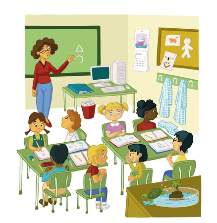 기본 교실과 교사와 강의 일러스트