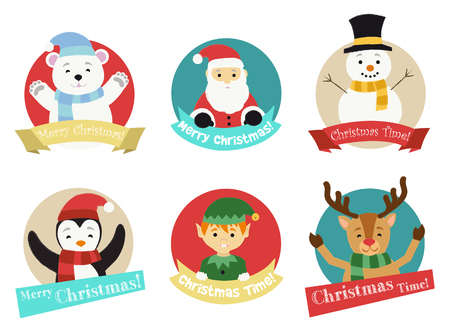 Christmas characters from the North Pole isolated in colorful circles wishing Merry Christmas
