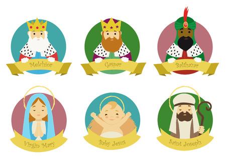 Personages uit de kerststal geïsoleerd in kleurrijke cirkels met hun namen