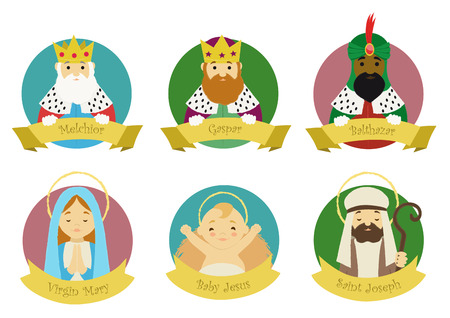 Characters from Nativity scene isolated in colorful circles with their names Illustration