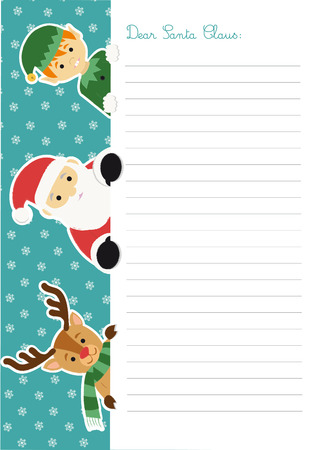 Letter template to Santa Claus with an illustration of him accompanied by an elf and to reindeer peeping out to the left side of the sheet