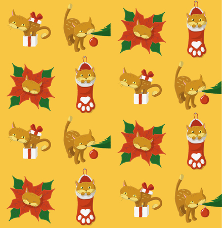 Christmas pattern with a cat in different positions playing with Christmas elements