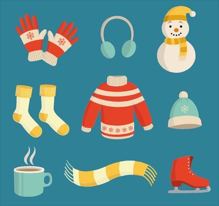 Colorful winter essentials set on a blue background Ilustracja