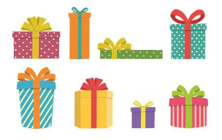 Colorful gift boxes set on a white background