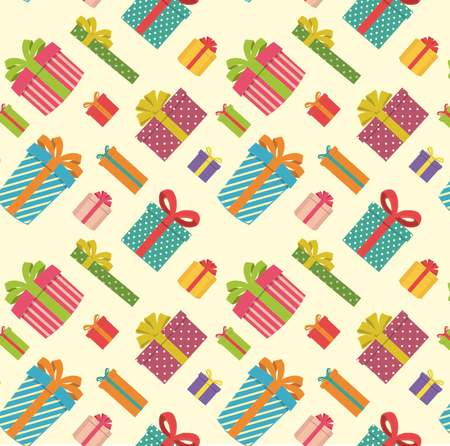 Colorful and varied gift boxes on a light yellow background Zdjęcie Seryjne