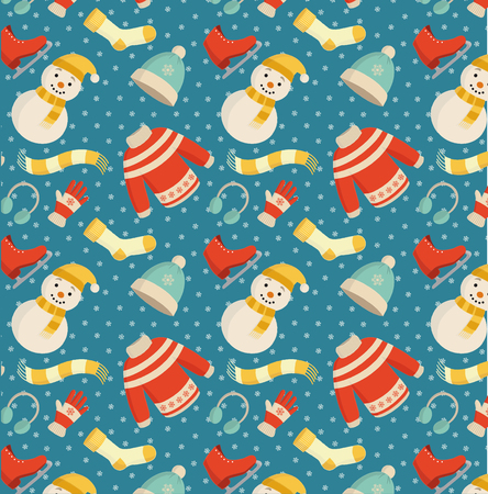 Winter essentials pattern with warm clothes, accessories and a snowman on a blue background