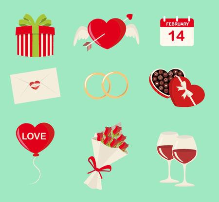 Nine Saint Valentines symbols set