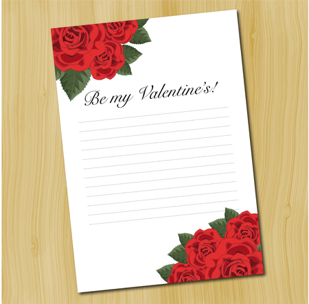 A blank love letter template decorated with red roses lying down on a wooden background