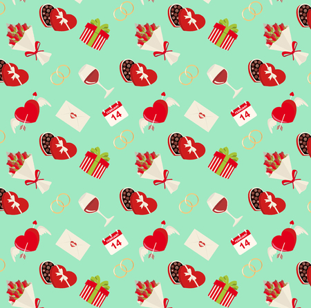 Saint Valentines day seamless pattern on a turquoise background