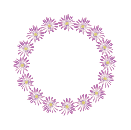 Watercolor violet anemone wreath isolated on a white background