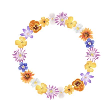 Watercolor spring flowers wreath on a white background Zdjęcie Seryjne