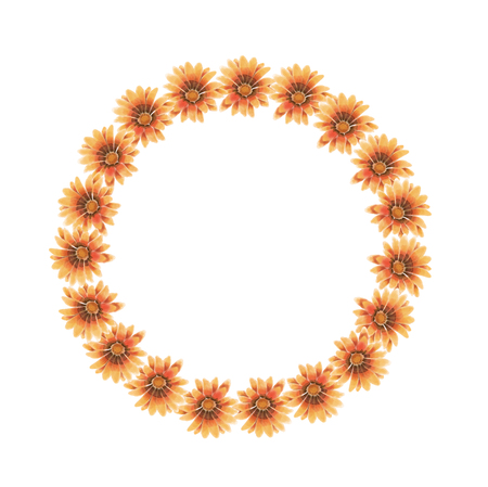 Watercolor yellow, orange and brown gazania wreath isolated on a white background