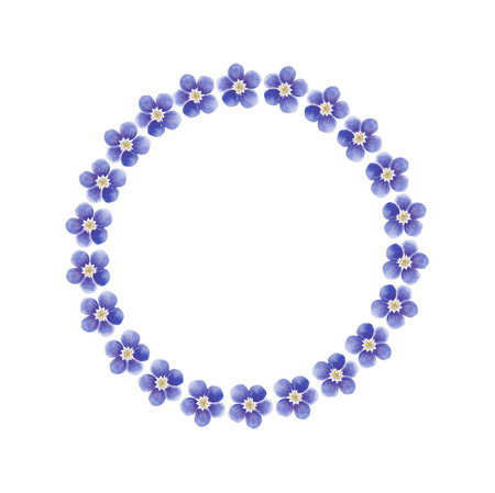 Watercolor blue forget-me-not flower wreath isolated on a white background