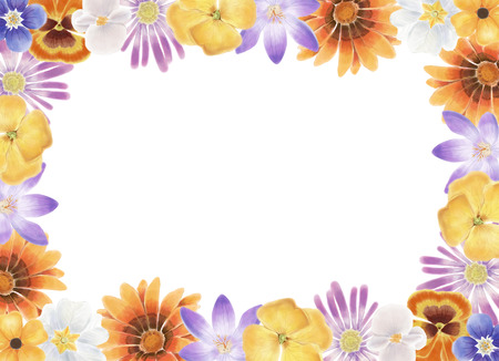 Watercolor spring flowers frame on a white background