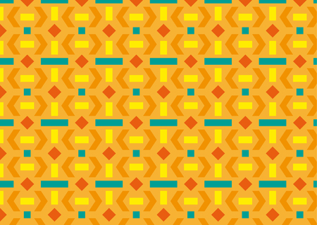Orange geometric pattern with rectangles, squares, rhombuses and triangles Ilustracja