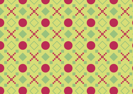 Green and red seamless geometric pattern with circles, rhombuses and squares Foto de archivo - 123097512