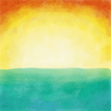 Summer sunset made with watercolor