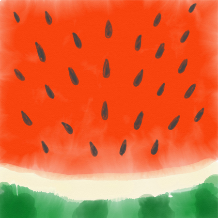 Watermelon close-up made with watercolor