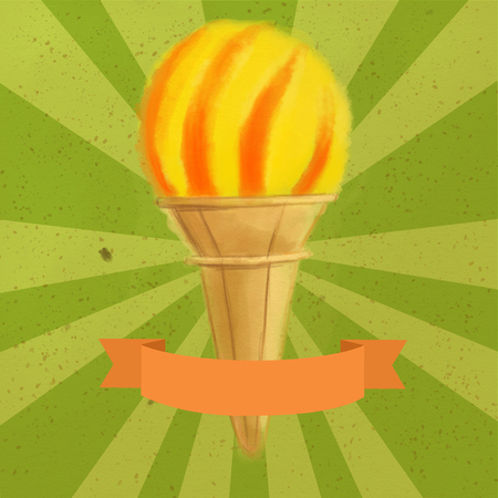 Single cone ice cream with lemon and orange scoop on a green vintage background