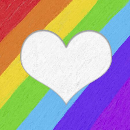 Gay pride poster template with a white heart