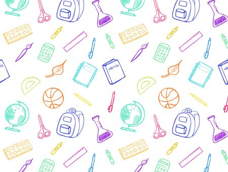 Colorful school elements sketches pattern