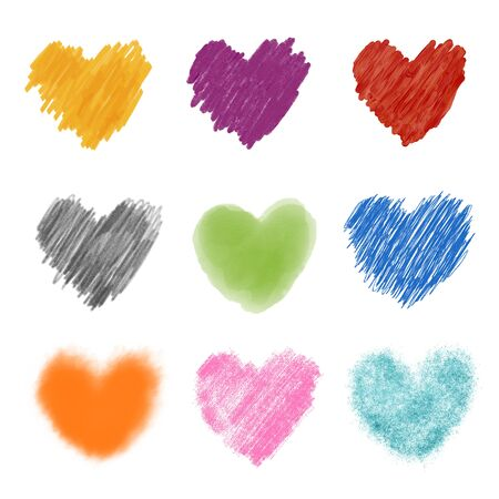 Assorted heart collection drawn with different artistic techniques and isolated on a blank background.