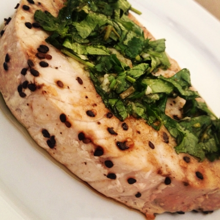 black: Tuna grill with black sesame seed and herbs