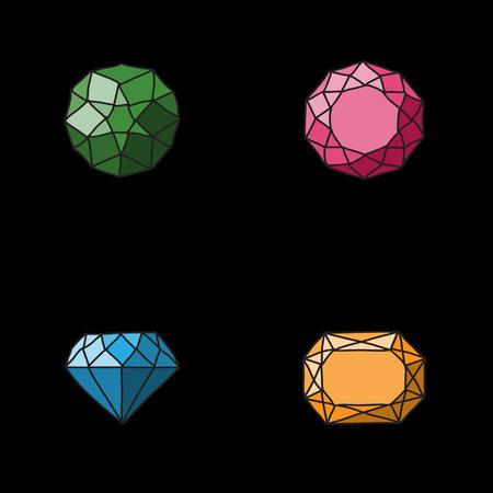 karat: Set of different diamonds different forms on black background. Vector illustration.