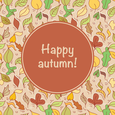autumn leafs: Card with autumn leafs and text Happy autumn!. Vector illustration.