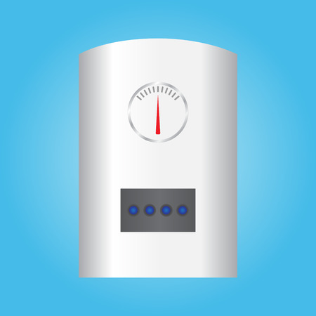 Automatic wall water heater. Isolated on blue background. Vector illustration. Illustration