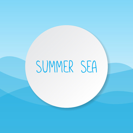 lop: Text summer sea on blue background. Vector illustration.