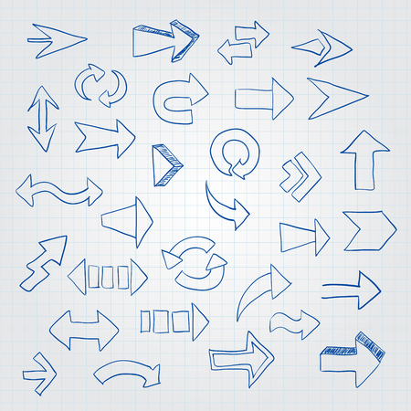 subsequent: Vector set of different arrows. Hand painted on paper background Illustration