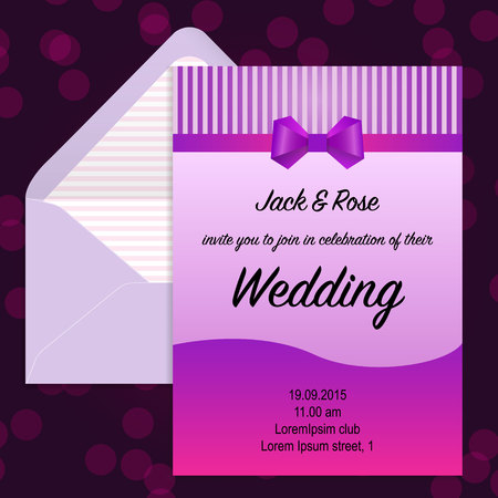 vintage riffle: Wedding invitation and beautuful envelope. Vector illustration.