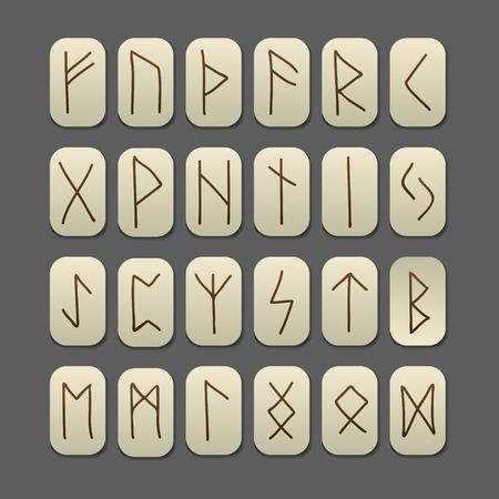 runes: Un ensemble complet de runes sur les tablettes. Vector illustration. Illustration