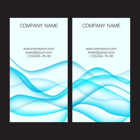 lop: Card with blue waves on background. Vector illustration