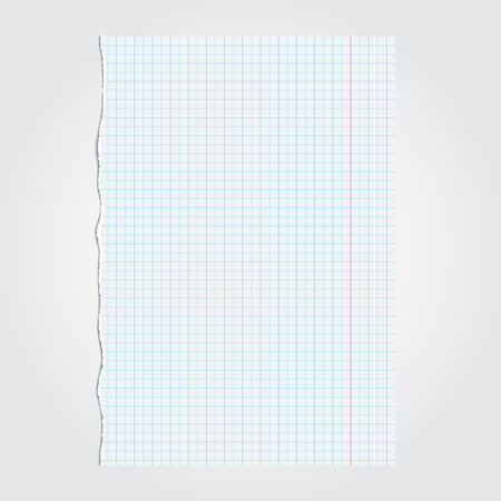 Lacerated piece of paper from notebook. Illustration