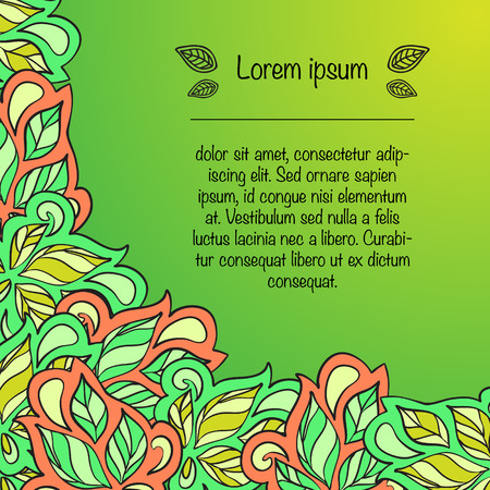Card with ornament in ethnic style with place for text. Vector illustration Illustration