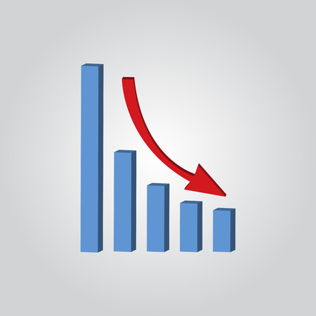 enlargement: Infografic. Declining graph icon. Vector illustration