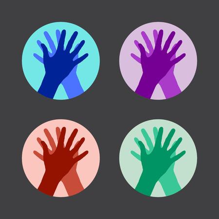 alto: Conjunto de iconos con las dos manos dando un máximo de cinco. Ilustración del vector. Vectores