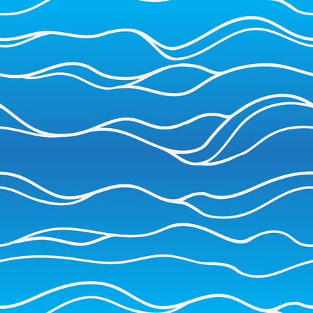 Seamless wave hand painted pattern in blue colors. Vector illustration.