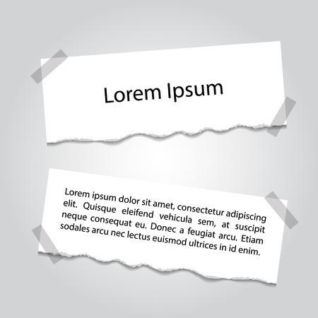 Set of lacerated pieces of paper with place for text Illustration