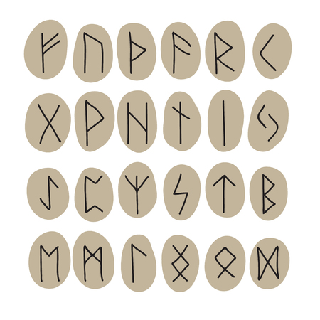 odin: Complete set of runes on tablets. Vector illustration. Illustration