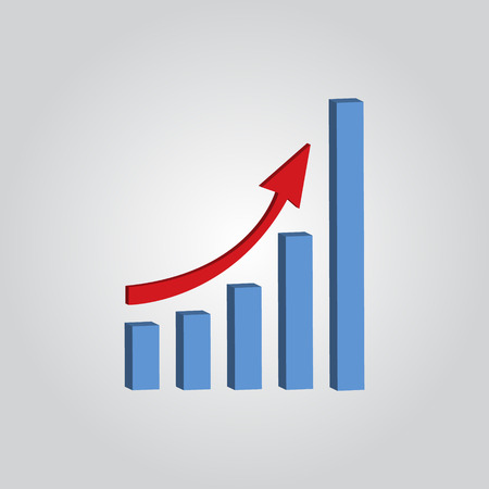 farther: Infografic. Growing graph shows profit. Vector illustration.
