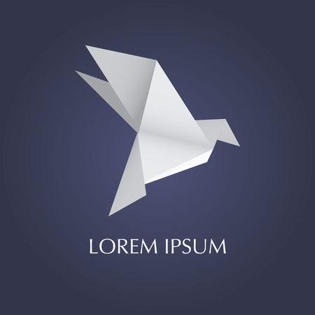 origami: Paper origami bird. Vector illustration