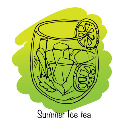 ice tea: Illustration of summer drink. Vector illustration. Ice tea. Illustration