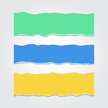 Collection de pièces lacérés de papier de couleur.