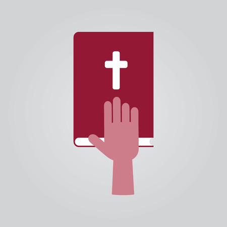 vow: Swearing icon. Hand on bible. Illustration