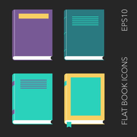 graphic novel: Set of four different flat books. Vector illustration.