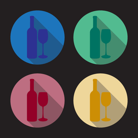 cabernet: Flat illustration of bottle of wine and glass of wine. Vector illustration.