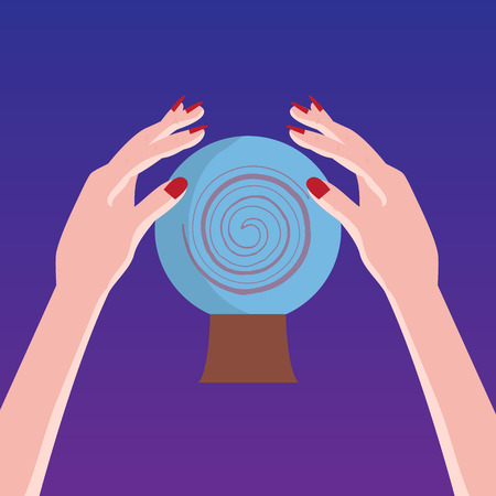 augury: Magic crystal sphere with hands. Vector illustration. Illustration